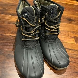 Sperry Quilted Duck Booties in Black